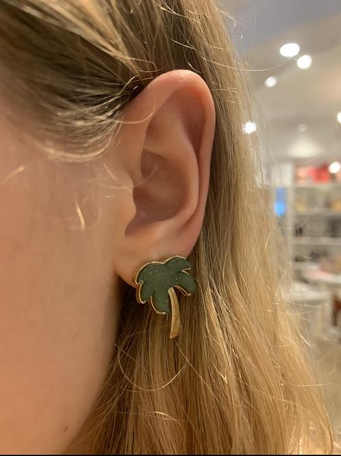 Druzy Palm Tree Earring