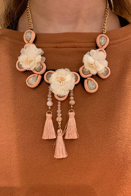 Fabric Flower Tassel Necklace
