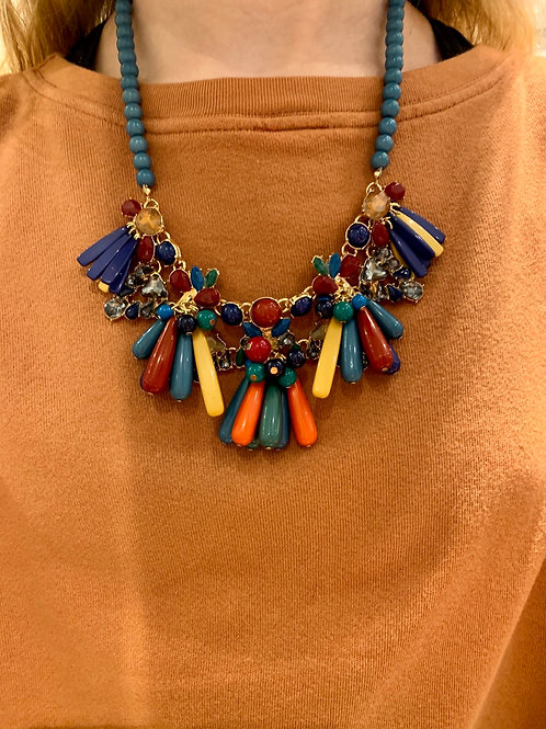 Multi Colored Cluster Necklace