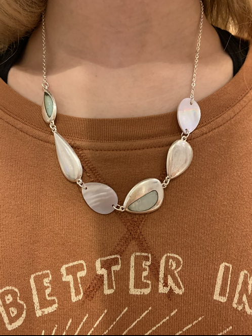 Organic Shell & Metal Necklace Set