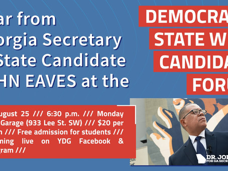 August 25: Hear from John Eaves at State Wide Candidate Forum