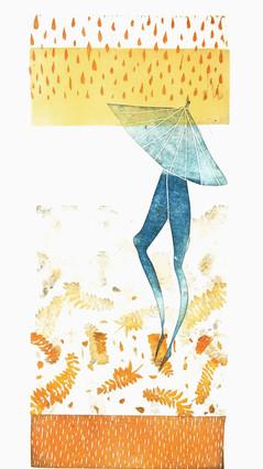 Linocut Print Umbrella