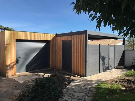 Création d'un carport et d'un abri jardin en ossature mixte Bois et Aluminium sur Anglet