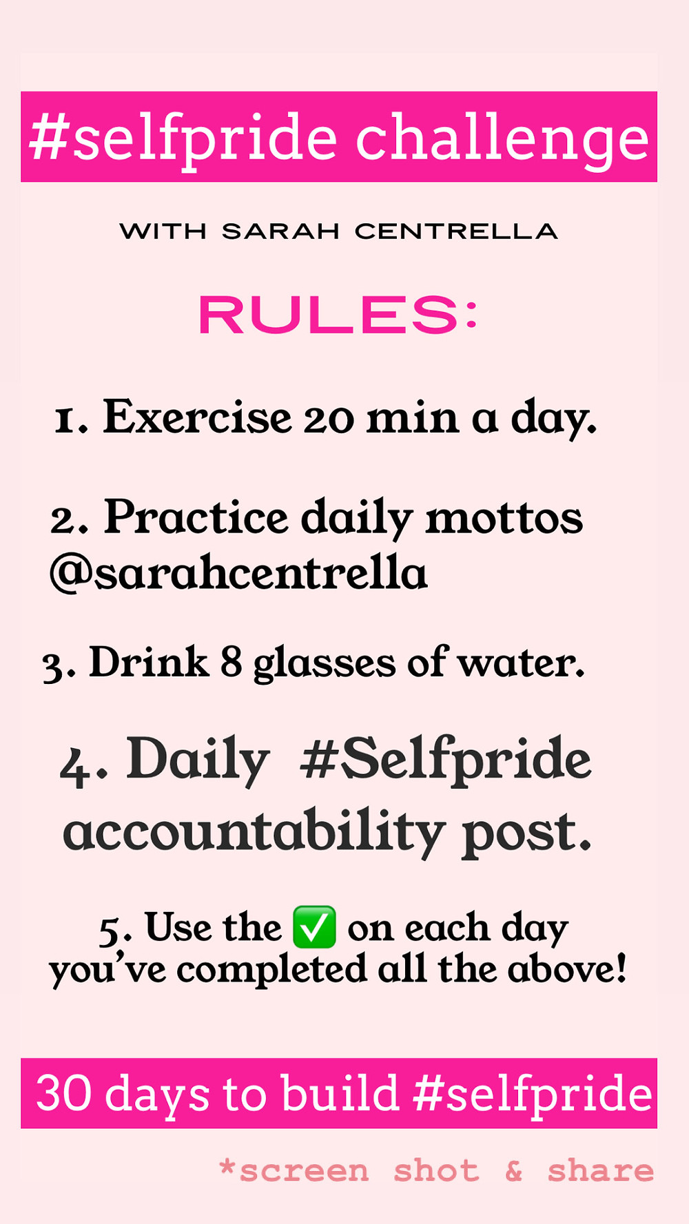 self pride challenge rules