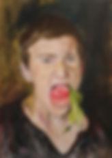 a boy with a peach, 2019,50x70, oil, can