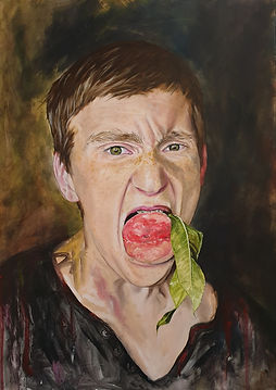 a boy with a peach, 2019,50x70, oil, canvas