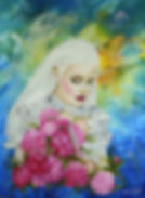 knife blood mystic picture angel with blonde picture oil painting unusual picture fantasy unusual artist Russian artist feathers
