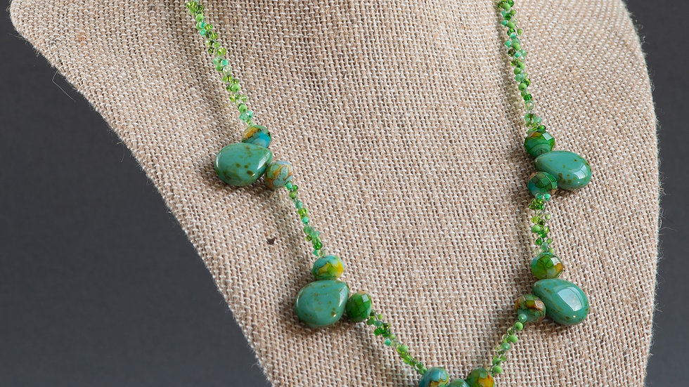Jade and Glass Woven Necklace