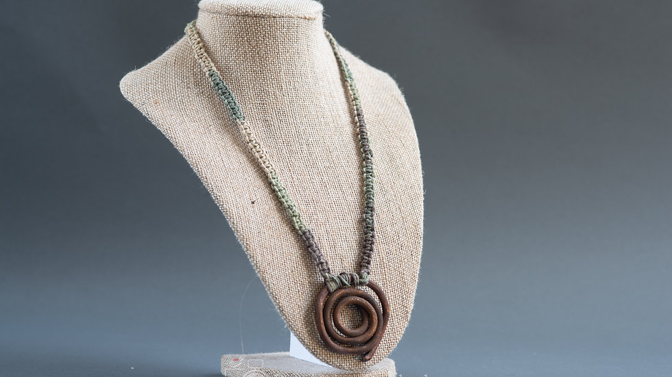 Copper and Hemp Macrame Necklace