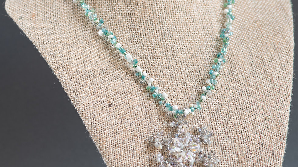 Prairie Winter Beaded Snowflake Necklace