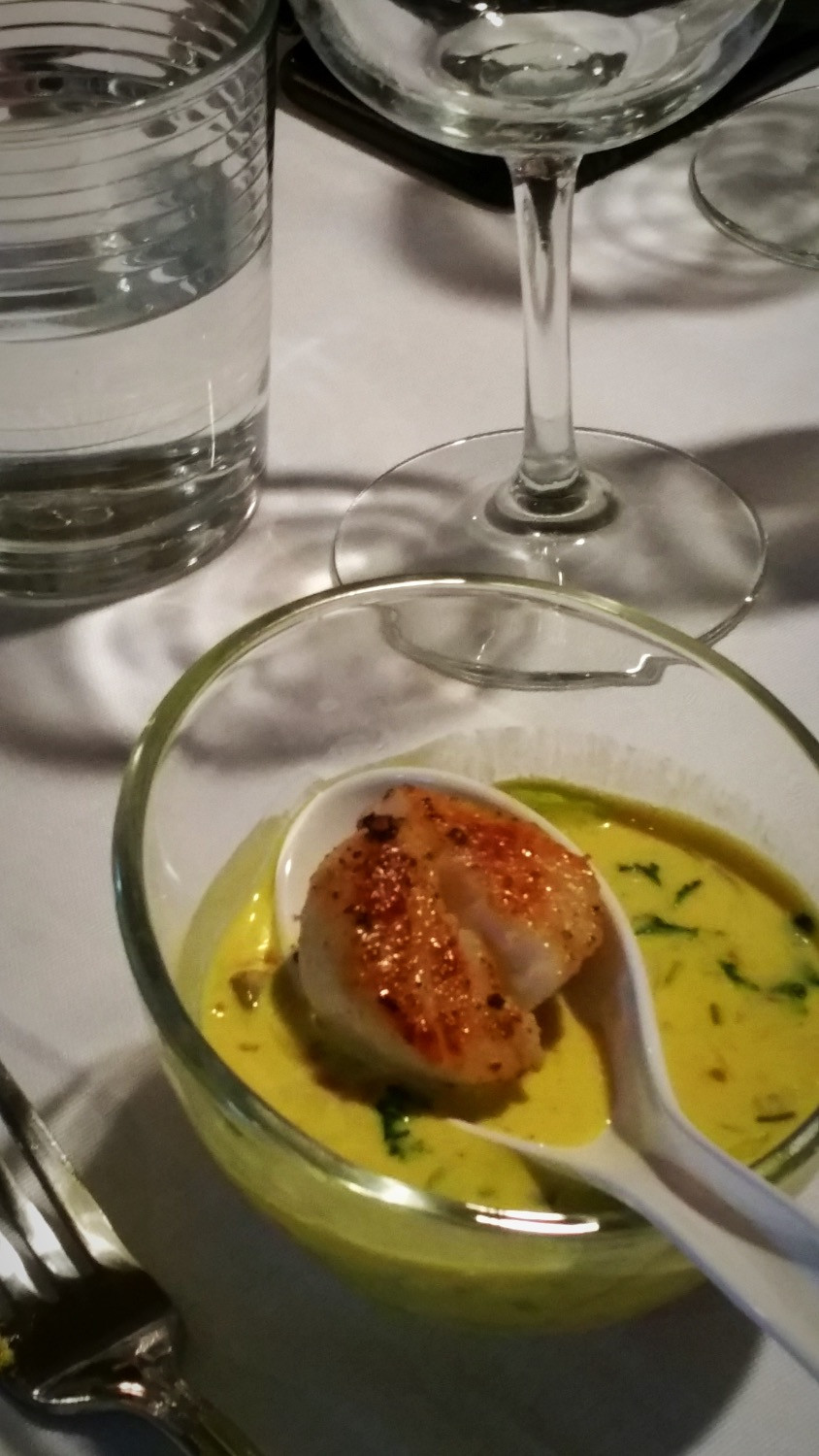 Coconut Turmeric Soup with Seared Scallop