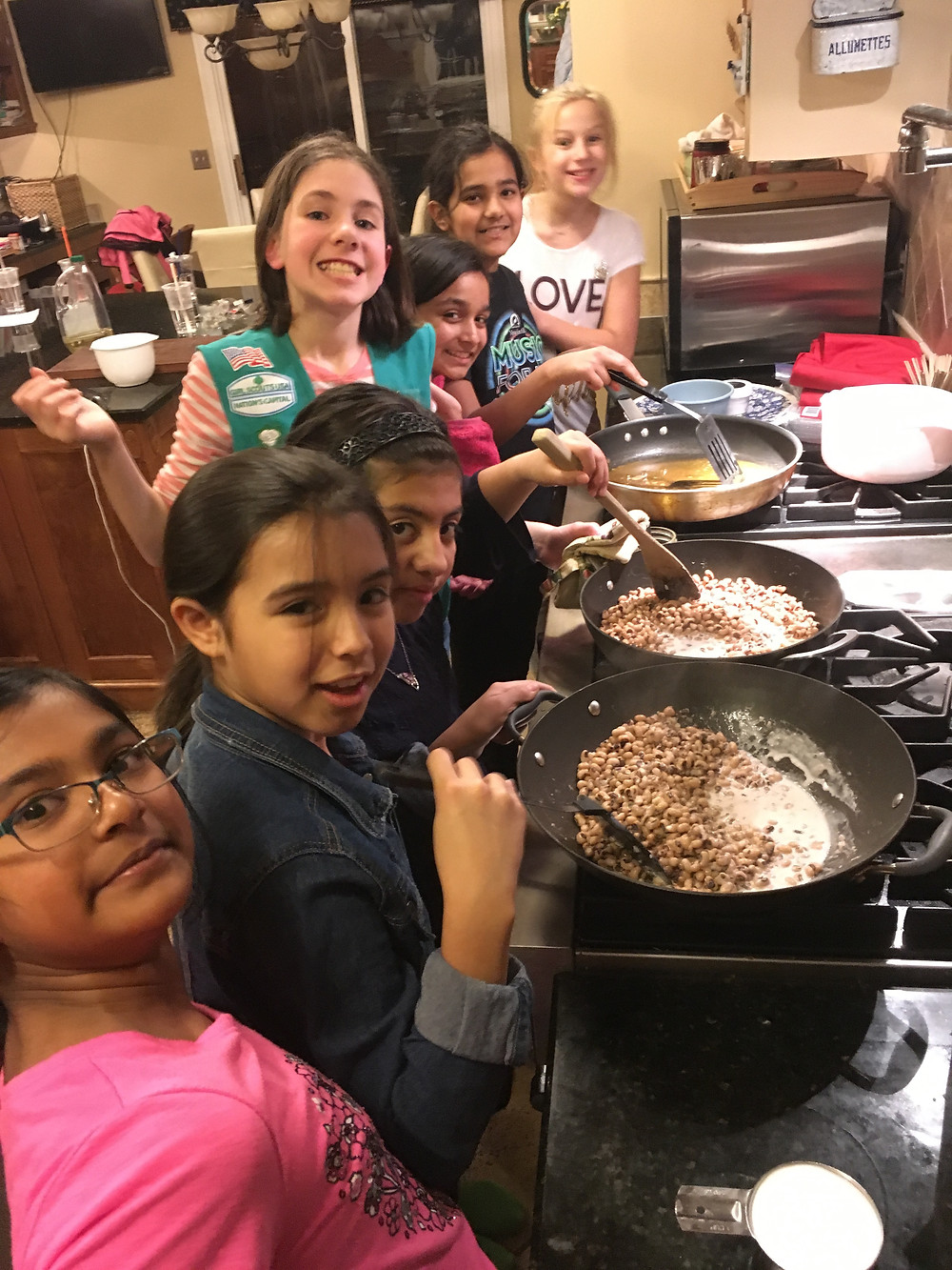 cooking for World Thinking Day 2018 with out Girl Scout Troop