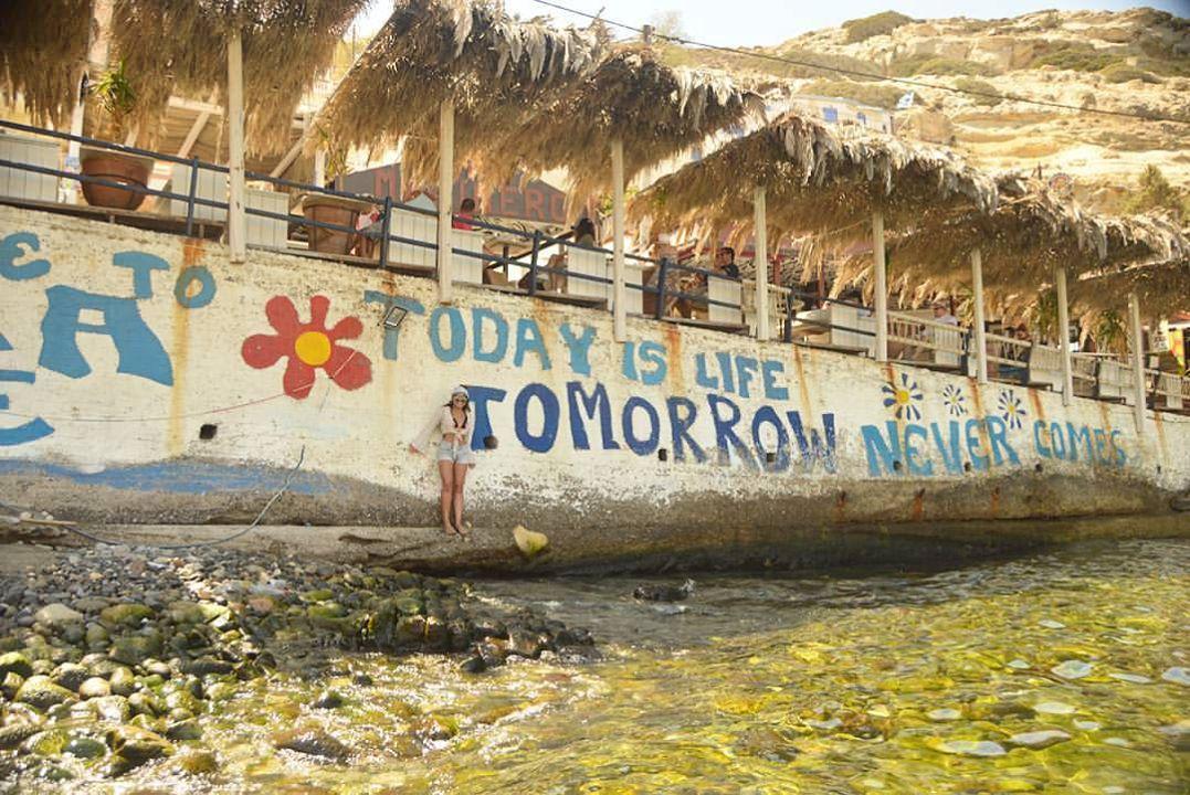 Cait @ Matala Beach, Greece