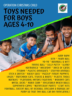 OCC Shoebox Toys List for Boys