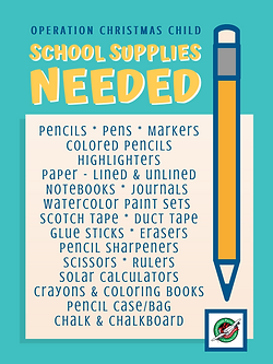 Operation Christmas Child shoebox school supplies list donation poster