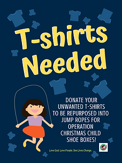 Operation Christmas Child t-shirt jump rope donation poster