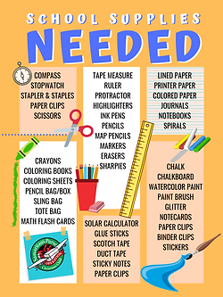 Operation Christmas Child shoebox school supplies donaton list poster