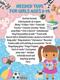 Operation Christmas Child Shoebox poster toy ideas for girls