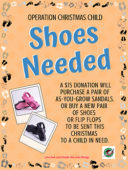 Operation Christmas Child Shoebox shoe donatio