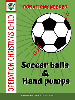 Operation Chistmas Child Shoebox donation poster soccer balls