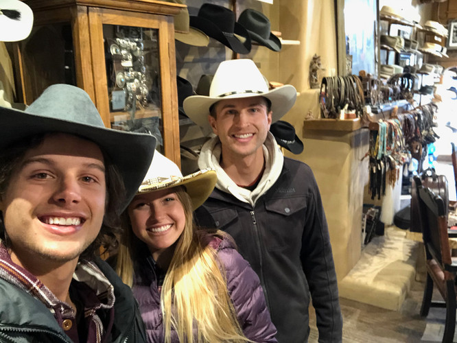 GNT in a hat shop in Santa Fe, NM.