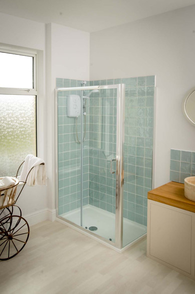Wash away the day in the large walk-in shower