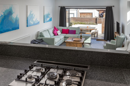 A very social kitchen, dining and living space