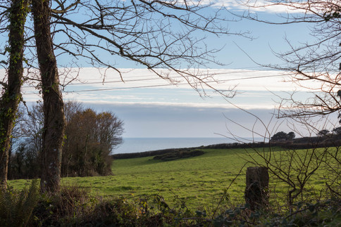 A view of the Cornish countryside to the sea beyond, from Cottage 4's garden.
