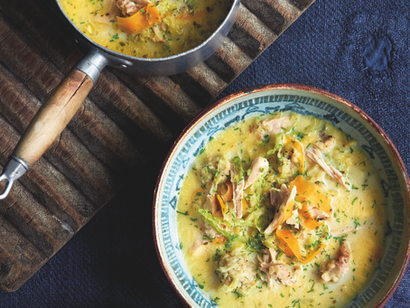 Starter: Leftover Roast Chicken and Stuffing Soup
