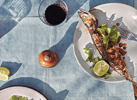 Starter: North African Spiced Mackerel by Prawn on the lawn