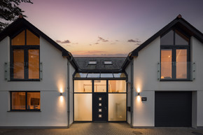 The facade of Tregenna House, Bude at twilight