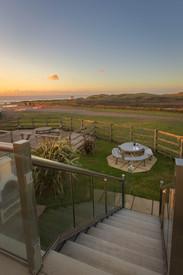 A stunning view a Cornish sunset from the veranda