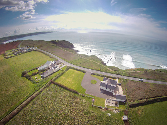 Stunning aerial shot of Trevose View with the ocean beyond