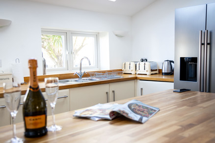 Large kitchen with solid wood worktops