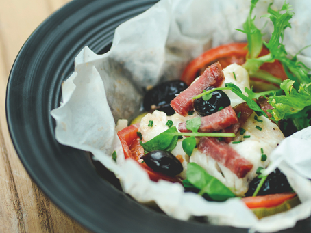 Main: Cod en papillote with black olives and watercress