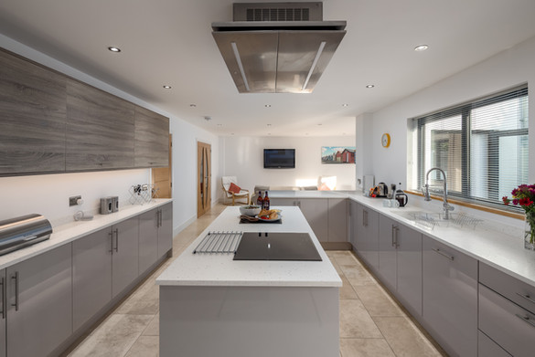 The sleek, clean lines. of the modern kitchen