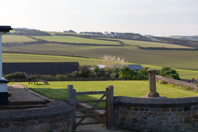 Views from the garden to the Cornish open fields beyond