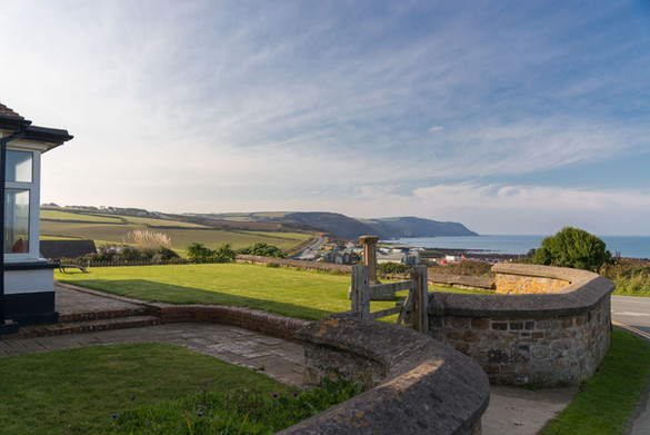From the garden you can look out to the cliff tops and the ocean