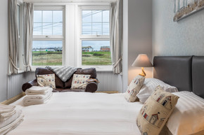 A double room with views across the countryside