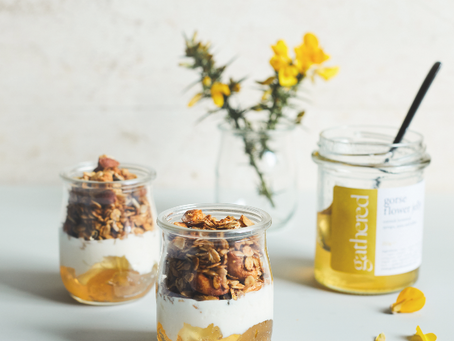 Granola Glass with Gorse Flower Jelly (GF)