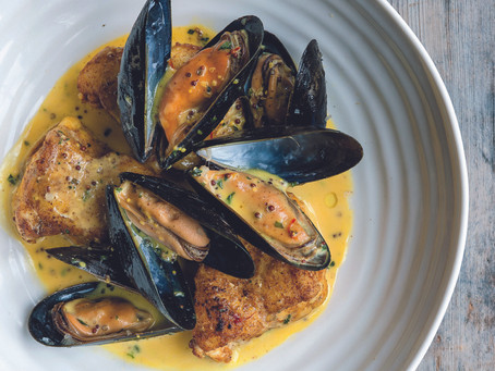 Pan-fried Monkfish with Mussels and a Grain Mustard Tarragon Sauce