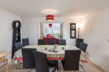 Come together to eat in the open plan dining room