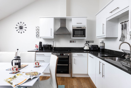Cook up some delicious meals in the monochrome kitchen