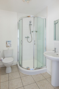 Spacious bathroom with walk-in shower