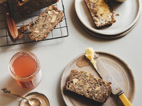 Nutty Buckwheat Loaf with Rhubarb Jelly (GF)