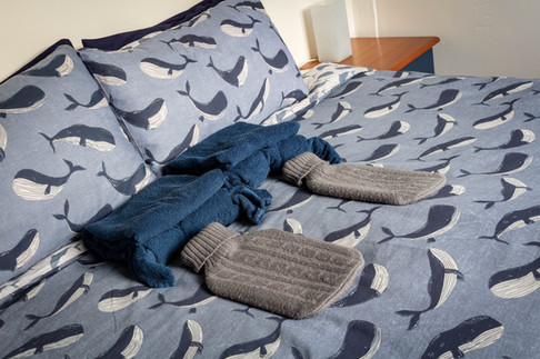 Cosy hot water bottles on a super king bed. Twin configuration available on request at time of booking.