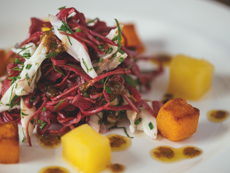 Starter: Warm Salad of Ray, Butternut Squash, Apple and Pickled Red Cabbage