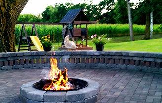 patio, pavers, fire pit