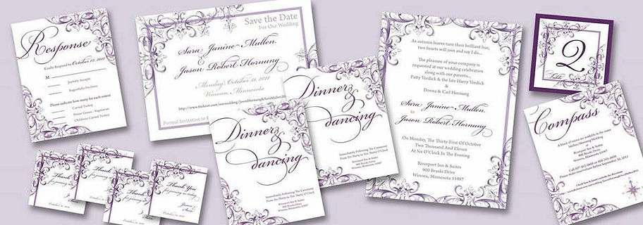 purple scroll wedding