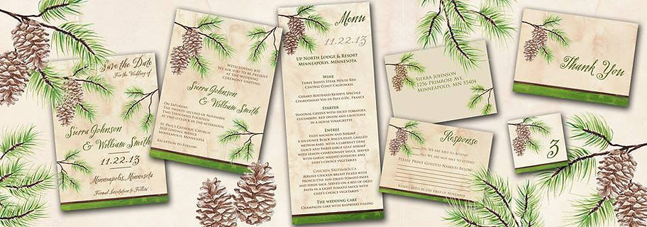 pine cone wedding invitation